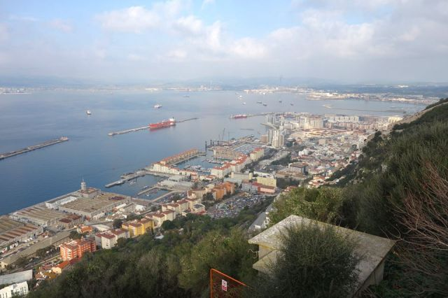 Gibraltar port as seen from on the Rock